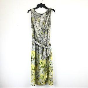 Nic+Zoe Floral Wrap Dress Sleeveless Gray Yellow V